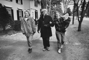 1989 -- Stockbridge, MA: Dr. Donald E. Campbell, model for artist Norman Rockwell's illustrations, smiling, walking arm in arm with his daughters (L) Jeanie Campbell Jones and (R) Bonny Campbell Flower, who holds her daughter Hana. (Photo by Steve Liss/The LIFE Images Collection/Getty Images)